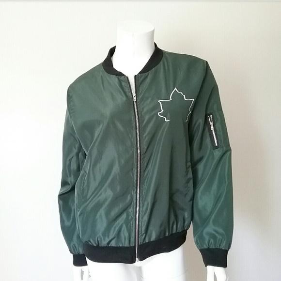 Jackets & Blazers - Army Green Nylon Bomber Jacket